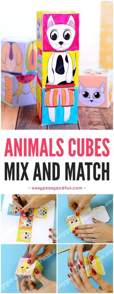 Printable Animals Mix and Match Cubes - Easy Peasy and Fun Arts And Crafts For Teens, Animal Crafts For Kids, Paper Crafts For Kids, Craft Activities For Kids, Animals For Kids, Crafts To Do, Art For Kids, Airplane Crafts, Printable Animals
