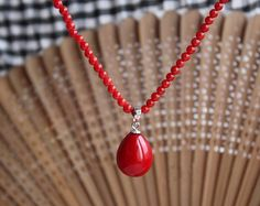 CORAL NECKLACE  4 mm 17inch red coral necklace & by xueyaojewelry