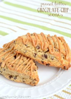Soft and tender, these Chocolate Chip Peanut Butter Scones are hard to resist. The peanut butter glaze makes them extra tasty. A superb scone recipe!