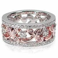 Pink and White Diamond Band. Nice mixed metal look, yet rosegold is more reddish than pinkish. Right Hand Rings, Anniversary Bands, Gold Jewelry, Sparkly Jewelry, Diamond Are A Girls Best Friend, Bling Bling, Glitters, Wedding Rings, Gemstones