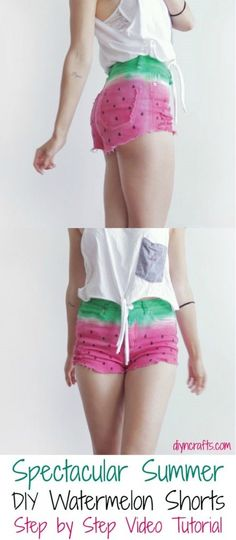 DIY Watermelon Summer Shorts - @DIY & Crafts Mom Women's Fashion
