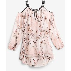 White House Black Market Cold-Shoulder Blouse ($98) ❤ liked on Polyvore featuring tops, blouses, spaghetti strap blouse, cold shoulder tops, cut out shoulder blouse, chiffon tops and pink blouse