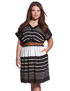 Smocked Waist Striped Dress - Plus Size Dresses - eloquii by The Limited