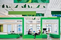 Nokia's Slick Silicon Valley HQ Office, LA,CA.  For the lobby at Nokia in Sunnyvale, California, Gensler designed a lounge-style work area with custom tables topped in knotty pine and banquettes upholstered in wool-viscose.   #office large phone tech company