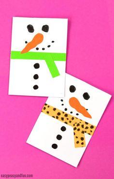 Snowman Christmas Card Idea for Kids