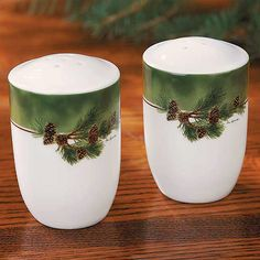 Designed to complement our pinecone dinnerware set or stand alone. Crisp, clear decal on ceramic featuring detailed pinecone art by Persis Clayton Weirs. Microwave and dishwasher safe. A Wild Wings ex