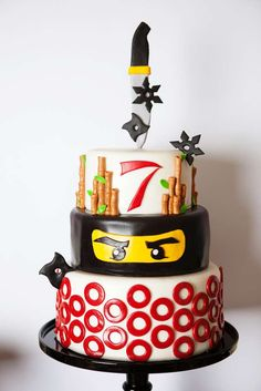 "Ninjago / Birthday ""A Lego Ninjago Inspired Birthday Party"" Ninja Birthday Cake, Ninja Cake, Ninja Birthday Parties, 8th Birthday, Birthday Ideas, Lego Ninjago Cake, Ninjago Party, Festa Ninja Go, Bolo Lego"