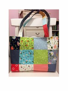 """Made with Moda Fabrics collections named """"Farmers daughter """" Perfect size for diaper bag, overnight travel, college student. Do you like this tote bag but are not keen on the Antique Quilts, Vintage Quilts, Vintage Fabrics, Wooden Containers, Best Tote Bags, Quilt Storage, Butterfly Kids, Quilted Tote Bags, Tote Bags Handmade"""