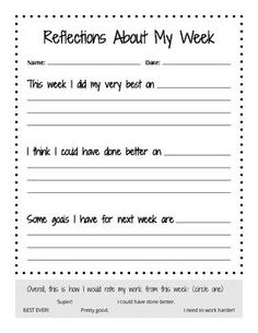 Reflections About My Week - PYP reflection activity