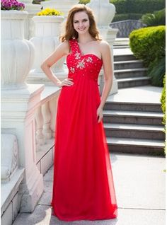 Prom Dresses - $162.99 - Empire One-Shoulder Floor-Length Chiffon Prom Dress With Ruffle Beading  http://www.dressfirst.com/Empire-One-Shoulder-Floor-Length-Chiffon-Prom-Dress-With-Ruffle-Beading-018024647-g24647