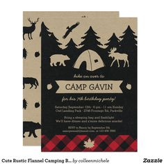 Cute Rustic Flannel Camping Birthday Party Invite Camping Parties, Camping Theme, Camping Hacks, Camping Style, Camping Guide, Camping Activities, Camping Ideas, Outdoor Camping, Camping Party Invitations