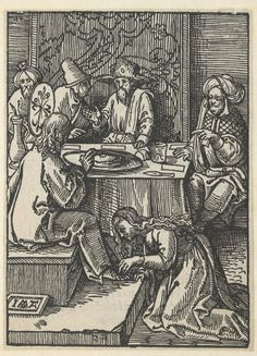 Mary Magdalene anoints Christ's feet during the Banquet of Simon of Bethany, Jacob Cornelisz. of Oostsanen, 1521 | Museum Boijmans Van Beuningen