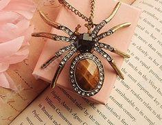 "1 Pc Korean Style 27"" Clear Rhinestone Brown Resin Spider Vintage Bronze Chain Necklace"