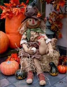 Primitive Scarecrow Doll for Fall by PrimitiveArtDolls on Etsy, $90.00
