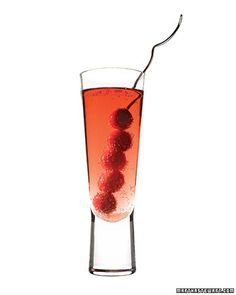 Martha's Berry Little Cocktail - New Year's Eve - cranberry and black currant juices, cranberries, sugar, red grapefruit vodka, champagne.