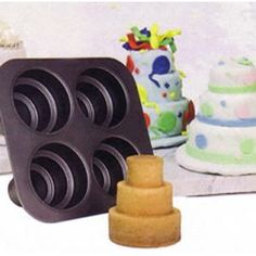 Mini multi-tiered cake pans. How cute for bridal showers!