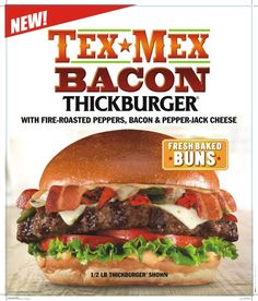Carl's Jr New Tex-Mex Bacon ThickBurguer ‪ ‪ ‪ With fire-roasted peppers, bacon & pepper-jack cheese! Come and try it today! Carl's Jr, Pepper Jack Cheese, Roasted Peppers, Tex Mex, Hamburger, Bacon, Tasty, Lunch, Beef