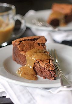 Chocolate Peanut Butter Truffle Torte. Mmmm.....served with a warm peanut butter sauce.