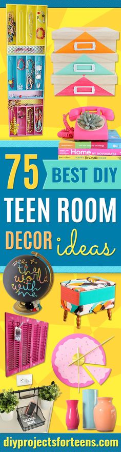 Best DIY Room Decor Ideas for Teens and Teenagers - Best Cool Crafts, Bedroom Accessories, Lighting, Wall Art, Creative Arts and Crafts Projects, Rugs, Pillows, Curtains, Lamps and Lights - Easy and Cheap Do It Yourself Ideas for Teen Bedrooms and Play Rooms http://diyprojectsforteens.com/diy-room-decor-ideas-teens
