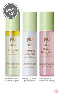We've found your mister. Or three. You'll fall in love with these lifesavers from Pixi. Here's why: Glow Mist is made with 13 natural essential oils to give thirsty skin an instant hydration boost. Hydrating Mist offers intensive hydration and soothes skin with a host of anti-inflammatory ingredients. And, Makeup Fixing Mist works double-duty as a primer and to set makeup for all-day wear, plus it has a subtle rose scent. Try'em for yourself and spritz away.
