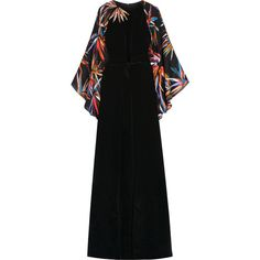 Emilio Pucci Embellished silk gown (£3,480) ❤ liked on Polyvore featuring dresses, gowns, black, mirror dress, bamboo dress, embellished dress, silk evening gowns and cinched-waist dress