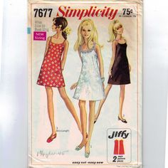 1960s Vintage Sewing Pattern Simplicity 7677 Misses Easy Jiffy Slip Dress Cocktail Mini Mod Size 10 Bust 32 1/2 1969 60s. $6.00, via Etsy.