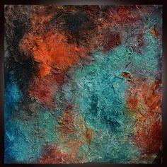 Große blaue abstrakte Orange Blue Textural Malerei von Andrada