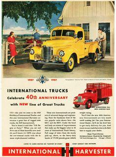 1947 International Trucks Vintage Look Metal Sign - bigoltrucks Antique Trucks, Vintage Trucks, Antique Cars, New Trucks, Pickup Trucks, Vintage Advertisements, Vintage Ads, Vintage Metal, Vintage Signs