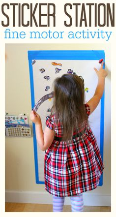 So simple - make a sticker station to promote fine motor skills. Fine motor skills are used for things like writing and tying shoes... so get some practice that doesn't feel like practice!