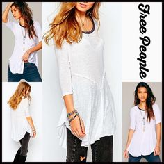 """FREE PEOPLE Tunic Swing Layering Tee NEW WITH TAGS FREE PEOPLE Tunic Swing Layering Tee  DETAILS:   * Scoop neck  * 3/4 length sleeves  * Contrast trim & asymmetrical cape hem  * Approx 24-32"""" long, hi-lo style  * Super soft lightweight fabric  * Stretch-to-fit style   Color: Snow White Fabric: 95% rayon & 5% spandex Item#:   No Trades ✅ Offers Considered*✅ *Please use the blue 'offer' button to submit an offer. Free People Tops Tunics"""