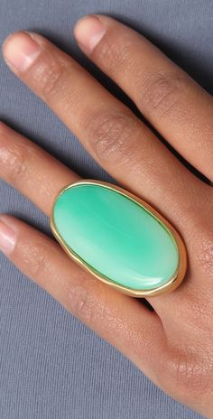 Kenneth Jay Lane Satin Gold & Jade Oval Ring | SHOPBOP