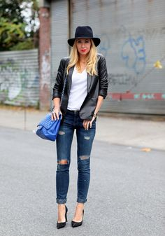 & by Brooklyn Blonde Outfit Jeans, Leather Jacket Outfits, Leather Blazer, Brooklyn Blonde, Look Fashion, Trendy Fashion, Jeans Fashion, Net Fashion, Fashion Outfits