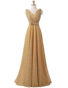 Women's Formal Dresses - OYISHA Womens Classic VNeck Pleated Long Wedding Evening Formal Gown EP11 * Continue to the product at the image link.