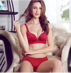 87c63d48bb sexy-red-wireless-push-up-bra-sets