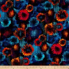 Designed by Maria Kalinowski for Kanvas in association with Benartex, this cotton print fabric features vibrant colors and a blurred, floral design. Perfect for quilting, apparel and home decor accents. Colors include brown, orange, light orange, purple, burnt orange and shades of pink and blue.
