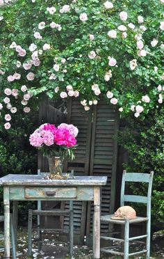 great use for an old bi-fold door - in black or great way to add color to a garden...