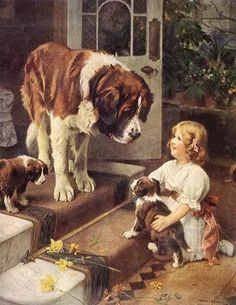 This picture reminds me of my favorite dog we had growing.  He was a St. Bernard named Bruce.  He was like a great big teddy bear.