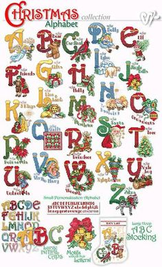 Christmas Alphabet, Christmas Fonts, Free Christmas Printables, Christmas Crafts, Alphabet A, Alphabet Images, Capital Alphabet, Embroidery Software, Embroidery Fonts