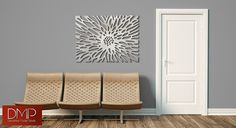 Flowerburst:  This is a limited edition custom laser cut aluminum decorative panel in a contemporary design.  Inspired by the dazzling petals of the chrysanthemum, this panel adds a bold feature.  This forms an excellent focal point of any room. It can be installed tight to a wall or offset as desired to create a floating effect with shadowing.  The approximate size of this product is:  Medium: 2-1 1/4 in length by 2-1 1/2 in height by 1/16 thick. 2-1 1/4 in length by 2-1 ...