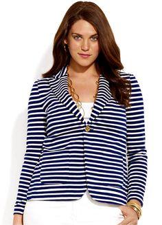 striped navy blazer gold chains