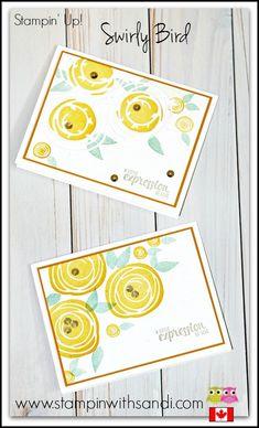 Stampin Up Swirly Bird Flower cards by Sandi @ www.stampinwithsandi.com
