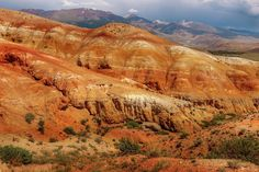 Multicolored Mountains Of Kyzyl-chin Altai by Victor Kovchin Different Shades Of Red, Art Prints For Home, Medium Art, Geology, Great Places, Natural Beauty, Waves, Artists, Mountains