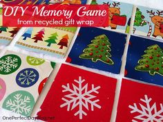 A simple homemade memory game using recycled gift wrap. The post also includes ideas three different memory games. This would make a great DIY gift for kids,