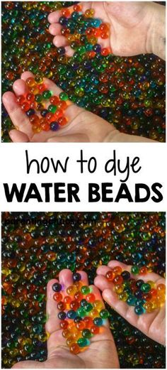 Dyeing water beads is an extremely easy way to save money and clear water beads can be found at any store that sells floral supplies. According to this site only last 48 hours. Sensory Bags, Sensory Bottles, Baby Sensory, Sensory Activities, Infant Activities, Activities For Kids, Crafts For Kids, Sensory Table, Sensory Play