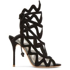 Sophia Webster Black Suede Mila Cage Sandals ($670) ❤ liked on Polyvore featuring shoes, sandals, black stilettos, stiletto sandals, suede shoes, peep toe sandals and cut out sandals
