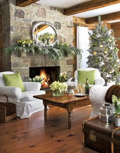 Fireplace Christmas Decor Green Country Home Holidays Family