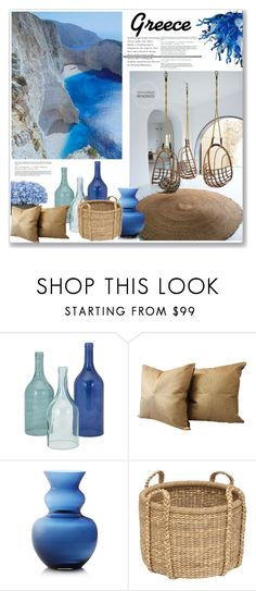 """""""Greece"""" by mariarty ❤ liked on Polyvore featuring interior, interiors, interior design, home, home decor, interior decorating, Home Decorators Collection, Crate and Barrel and Viz Glass"""