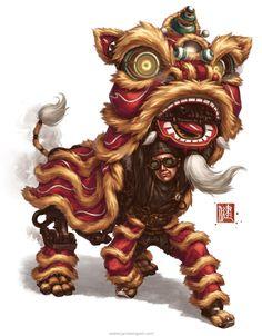 Clockwork Liondancer by @jamesngart. #ImperialSteamAndLight #Steampunk #CharacterDesign