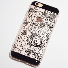 Black Vintage Floral Pattern iPhone 6 / iPhone 6S Transparent Soft Case
