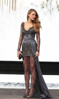 Blake Lively in Charcoal Lace Zuhair Murad